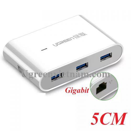 Ugreen 30281 5CM màu Trắng HUB chuyển đổi USB 3.0 sang 3 USB 3.0 + LAN hỗ trợ nguồn MICRO USB tốc độ 1000 Mbps US149 20030281